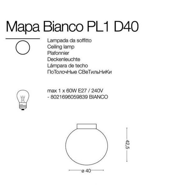 Ideal Lux MAPA BIANCO PL1 D40 059839