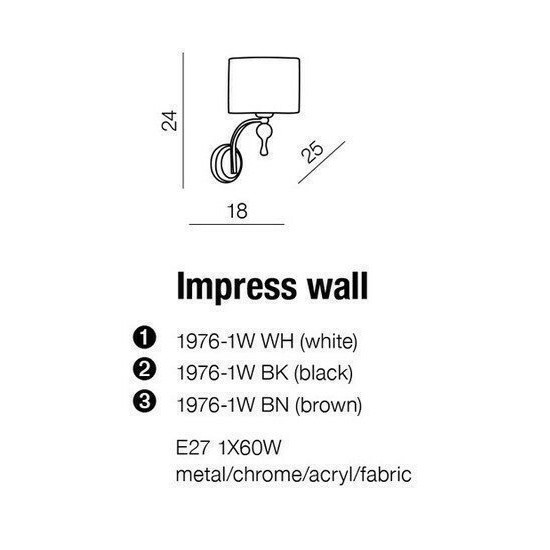 Azzardo Impress Wall (1976-1W WHITE)
